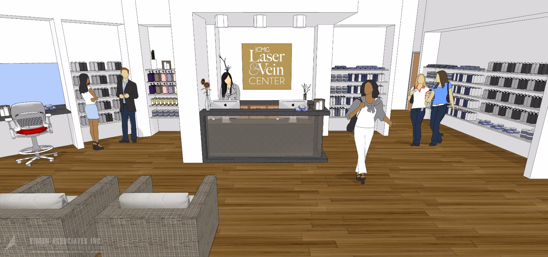 Laser Vein Spa Reception Rendering