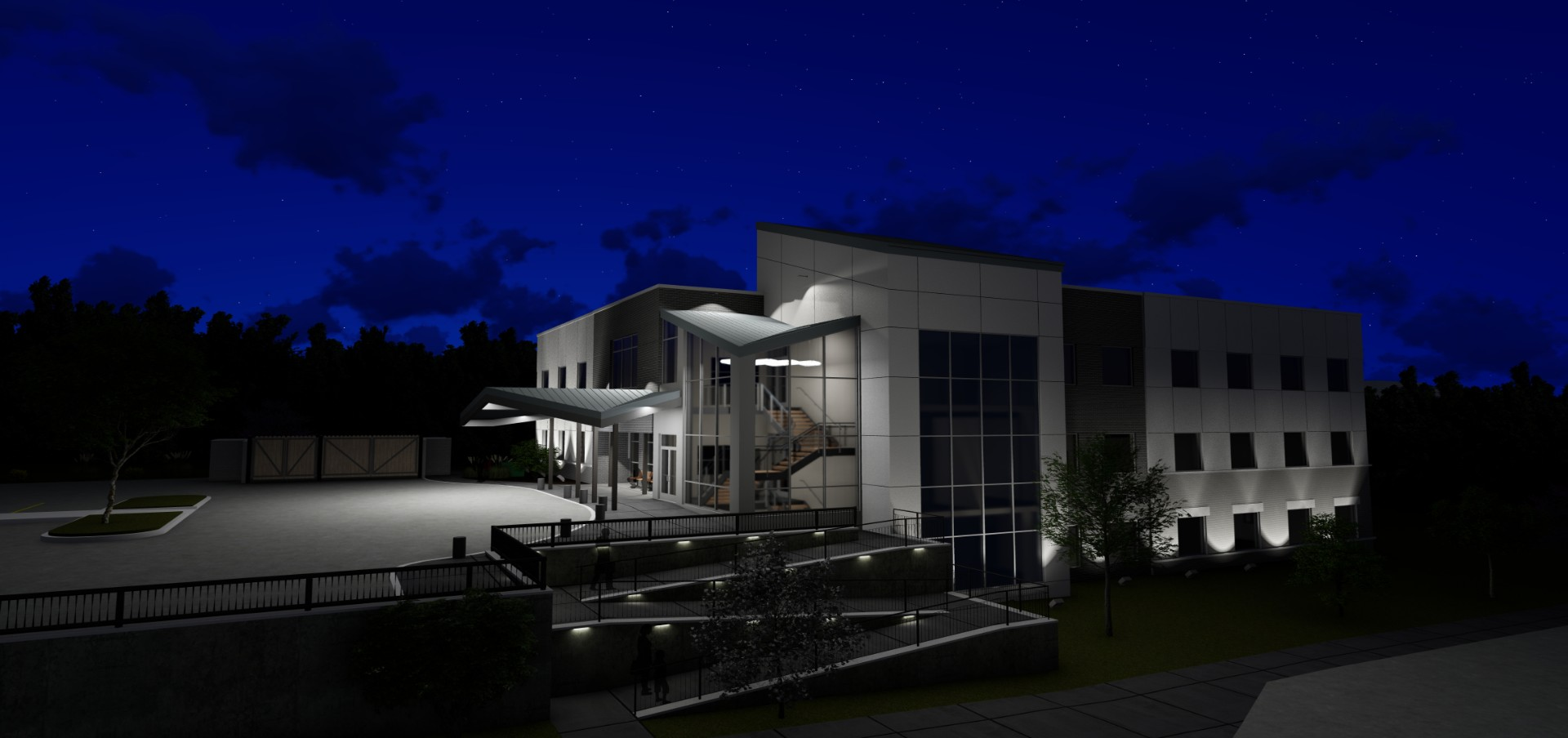 Boone-County-Family-Resources-Exterior-Night-Office-Building